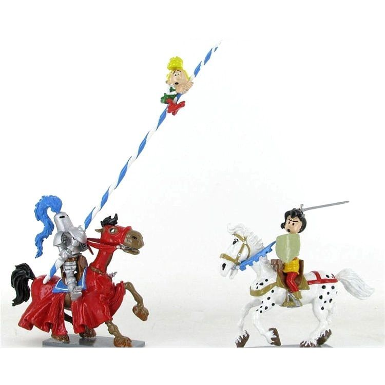 JOHANN & PFIFFIKUS auf Pferden mit Ritter Metall Figurenensemble PIXI Neu (L)*