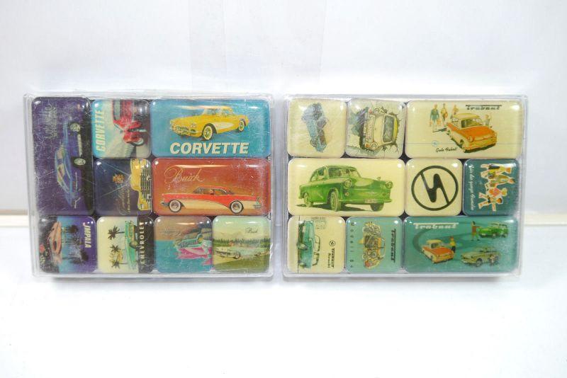 NOSTALGIC-ART 2er Magnet Set mit 18 Magnete U.S. CARS Trabant Neu (K83)#07