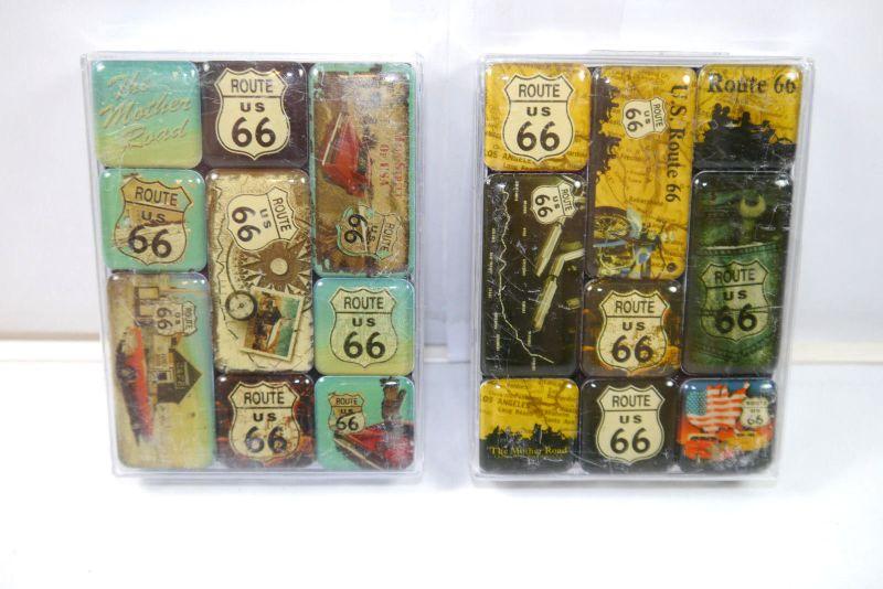NOSTALGIC-ART 2er Magnet Set mit 18 Magnete ROUTE 66 Neu (K83)#06