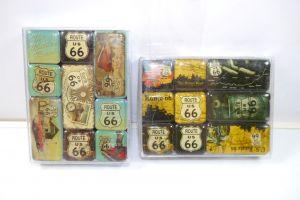 NOSTALGIC-ART 2er Magnet Set mit 18 Magnete U.S. ROUTE 66 Neu (K83)#02