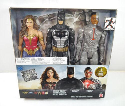 JUSTICE LEAGUE 3er Set Wonder Woman , Batman , Cyborg Actionfigur MATTEL Neu (L)