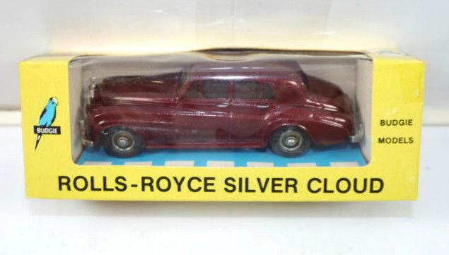 BUDGIE 102 Rolls-Royce 1955-1959 silver cloud dunkelrot Modellauto (K45)