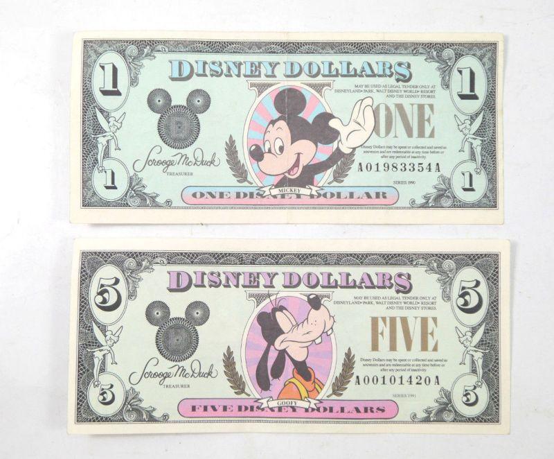DISNEY DOLLARS 1$ Mickey Mouse 1990 + 5$ Goofy 1991 Dollar AA Series (K51)