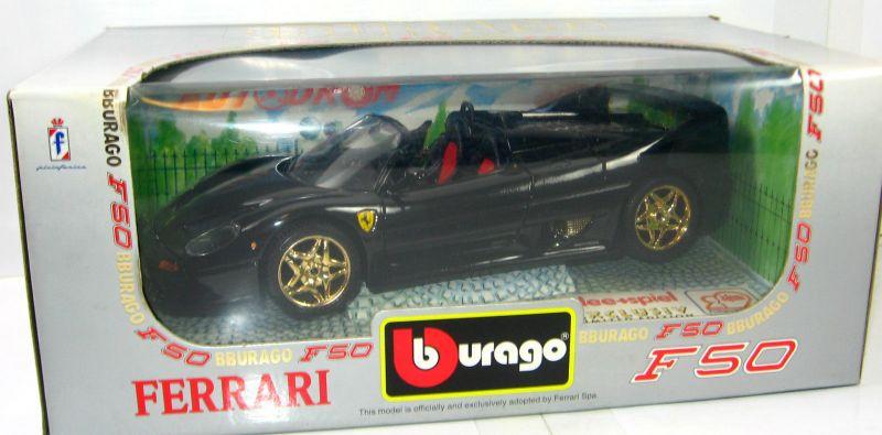 BBURAGO Autodrom - Ferrari F50 Modellauto schwarz IDEE + SPIEL 1:18 mit OVP (B8)