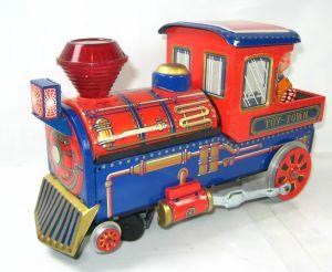 TOY TOWN EXPRESS 3463 Lokomotive Blechspielzeug vintage JAPAN Modern Toys (WR9)