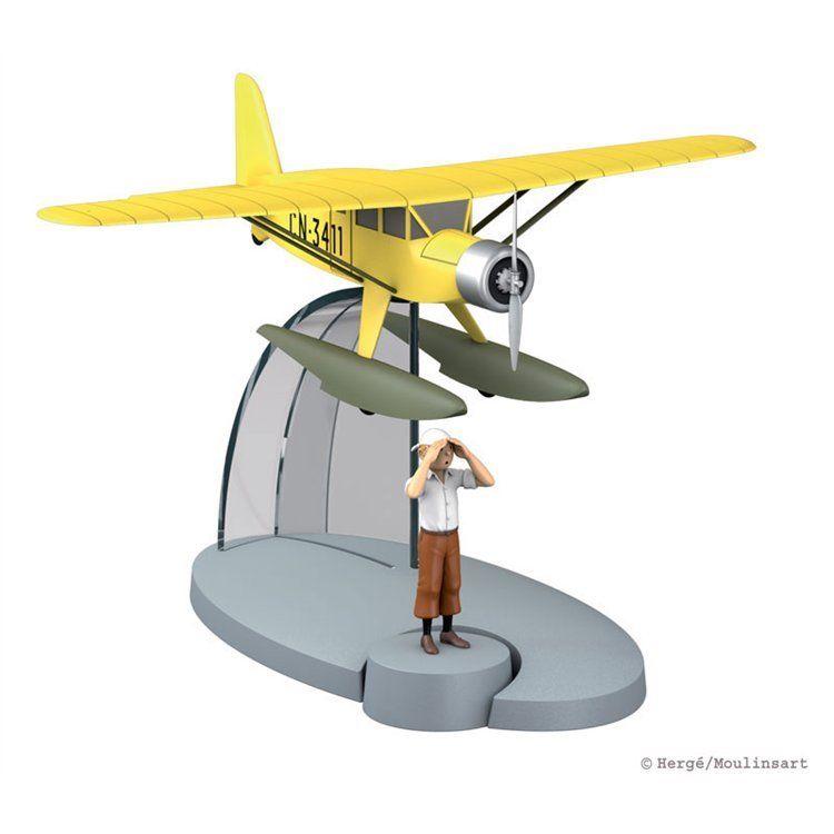 TIM & STRUPPI  gelbes Wasserflugzeug + Tim  Tintin Moulinsart Flugzeug 29521 (L*