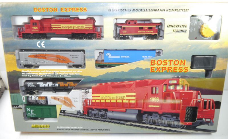 BOSTON EXPRESS Mehano Train Komplettset H0 Gleichstrom Diesel Lokomotive NEU F5