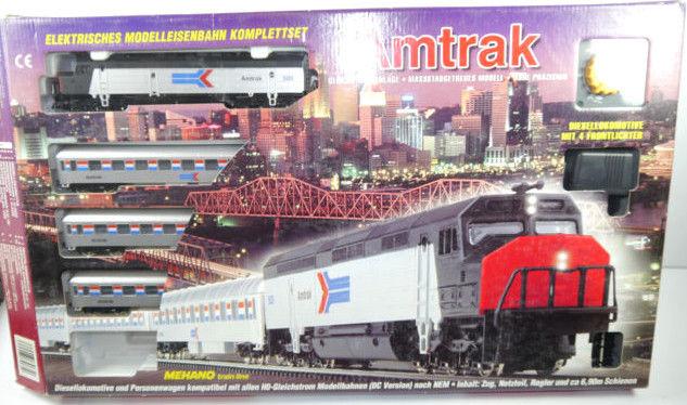 AMTRAK Mehano Train Komplettset H0 Gleichstrom Dampflokomotive - mit OVP (F5)