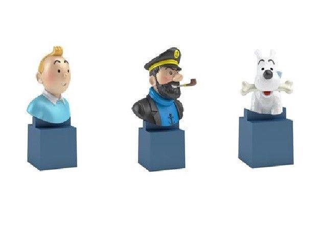TIM & STRUPPI Tintin - 3er Set PVC Büsten Set : Tim, Struppi & Haddock Neu (L)*