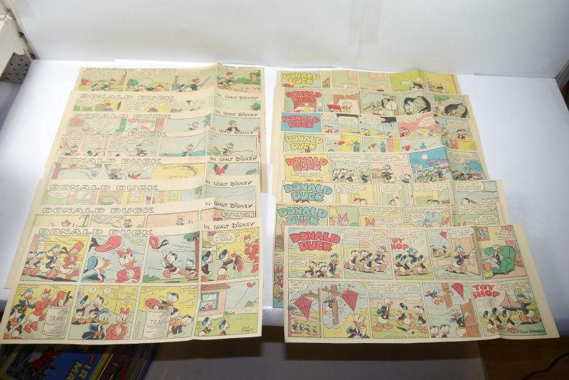 Walt Disney DONALD DUCK Newspaper 16 Comic Strip´s von 1957  halbe Seiten (WR3)C