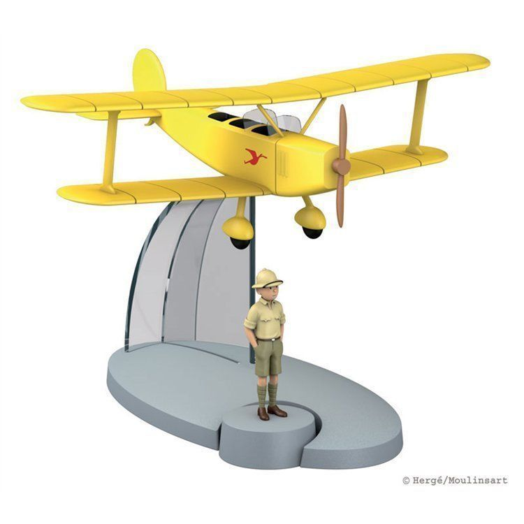 TIM & TRUPPI Doppeldecker & Tim Figur Tintin Moulinsart Flugzeumodell 29526 (L