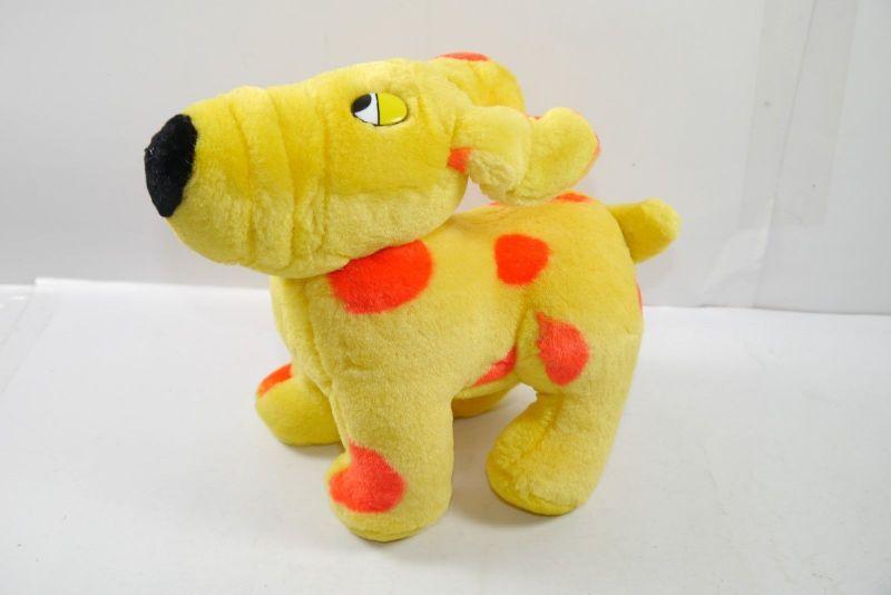 C&A Hund Schnuppi gelb rot stehend Stofftier Werbefigur Maskottchen 22cm K22D