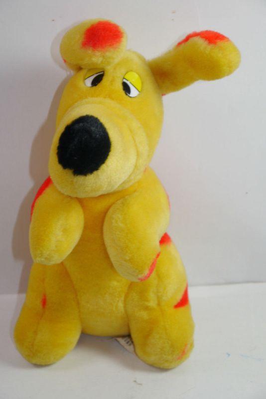 C&A Hund Schnuppi gelb rot  Stofftier Werbefigur Maskottchen ca 25cm (K22)A