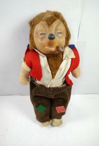 MECKI Puppe doll mit Pfeife & Stoffkleidung DDR ( 60er Jahre ) ca.29cm (K91)
