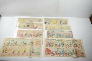 Walt Disney Donald Duck  Newspaper 8 Comic Strip´s 50 / 60 er halbe Seiten (WR9F
