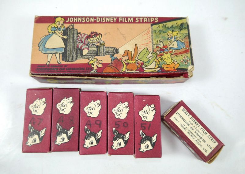 JOHNSON   DISNEY Projector  Projektor mit 13 Filmrollen 30er/40er Jahre (K4) 11