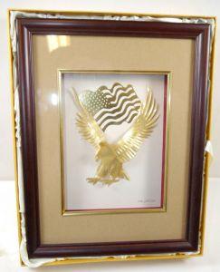 GOLDLAND Weißkopfadler Amerika 24 Karat Bilderrahmen Blattgold B&W (WRX)