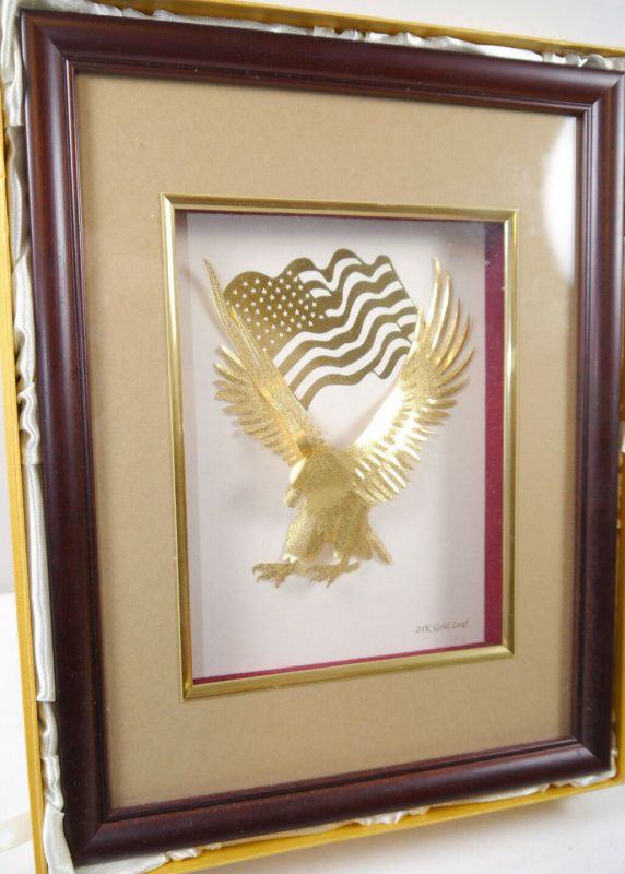 GOLDLAND Weißkopfadler Amerika 24 Karat Bilderrahmen Blattgold B&W (WRX) 1