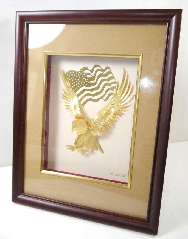 GOLDLAND Weißkopfadler Amerika 24 Karat Bilderrahmen Blattgold B&W (WRX) 2