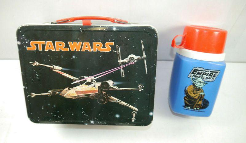 STAR WARS Brotdose Lunchbox 1977 + Yoda Thermosflasche blau Empire THERMOS (K63)