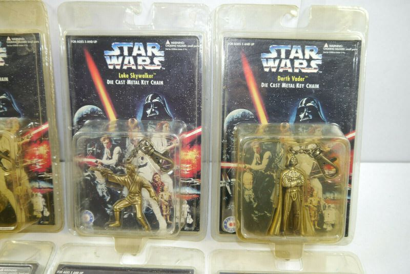 STAR WARS die cast metal key chain 8 Stk. C-3PO R2-D2 Darth Vader PLACO TOYS K34 2
