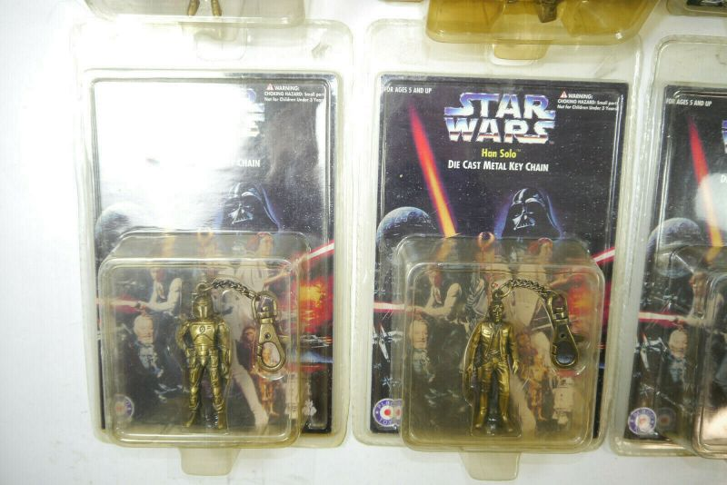 STAR WARS die cast metal key chain 8 Stk. C-3PO R2-D2 Darth Vader PLACO TOYS K34 3