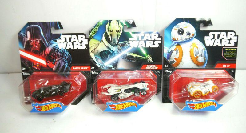 STAR WARS 3er Set Darth Vader BB-8 General Grievous Auto HOT WHEELS Neu (L)
