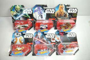 STAR WARS 6er Set Darth Maul BB-8 R2-D2 Grievous Auto HOT WHEELS Neu (L)