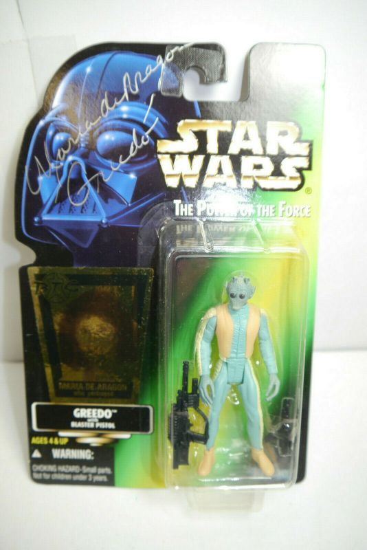 STAR WARS Greedo signiert Maria de Aragon BTC Sticker limitert  Kenner MF17A