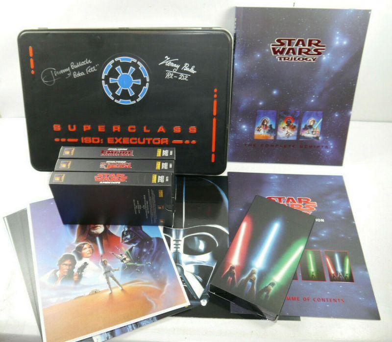 STAR WARS Superclass ISD Executor VHS Video Film Trilogie Set + Autogramm (F6)