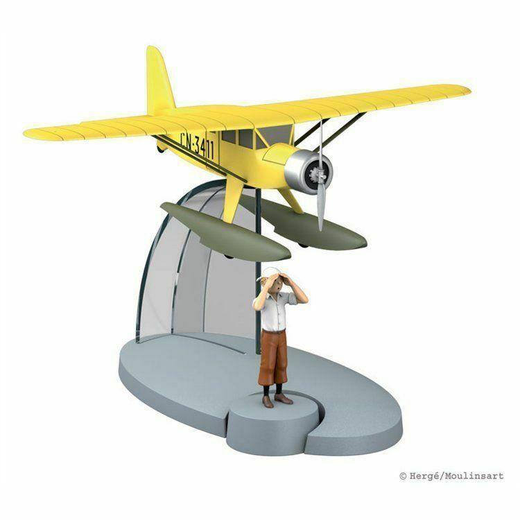 TIM & STRUPPI  gelbes Wasserflugzeug + Tim  Tintin Moulinsart Flugzeug 29521 (L)