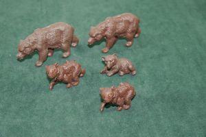 DDR PLAHO - 5 Bären Bär Braunbär bear Tiere Wildtiere Figuren (K5)#3
