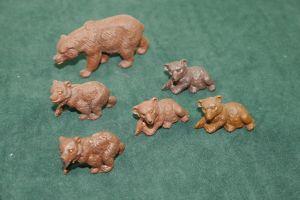 DDR PLAHO - 6 Bären Bär Braunbär bear Tiere Wildtiere Figuren (K5)#2