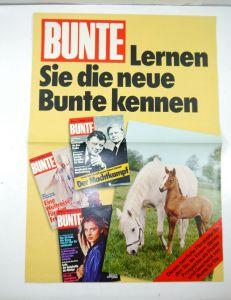 BUNTE Illustrierte Werbung / Werbeblatt mit Poster ( 70er ) Broschüre (B8)