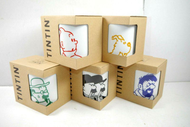 TIM & STRUPPI Tintin : Portrait 5er Set Tassen mug Porzellan MOULINSART Neu (L)*