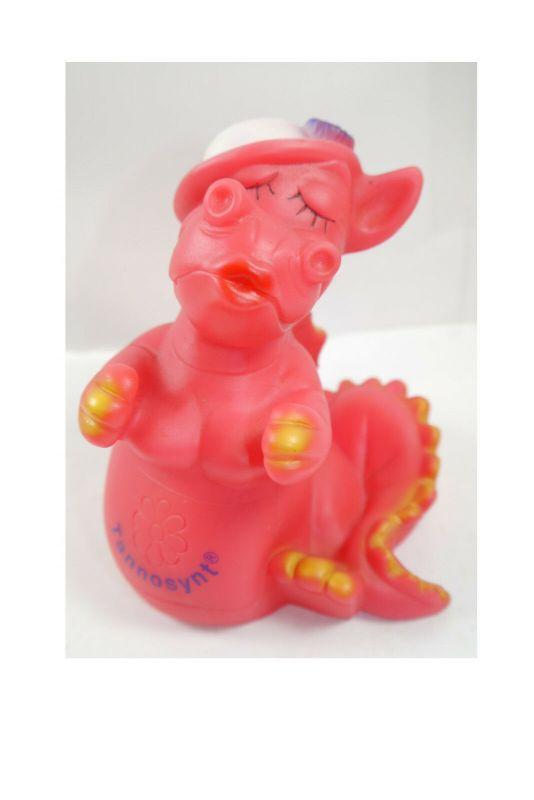 Drache Tannosynt Rosa  Werbefigur Quitscher Gummi  Maskottchen (K19 )*