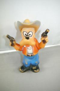 Goofy als Cowboy Disney Gummifigur Qutischer Rubber 60/70er J. Hopf ?  ( K49a)