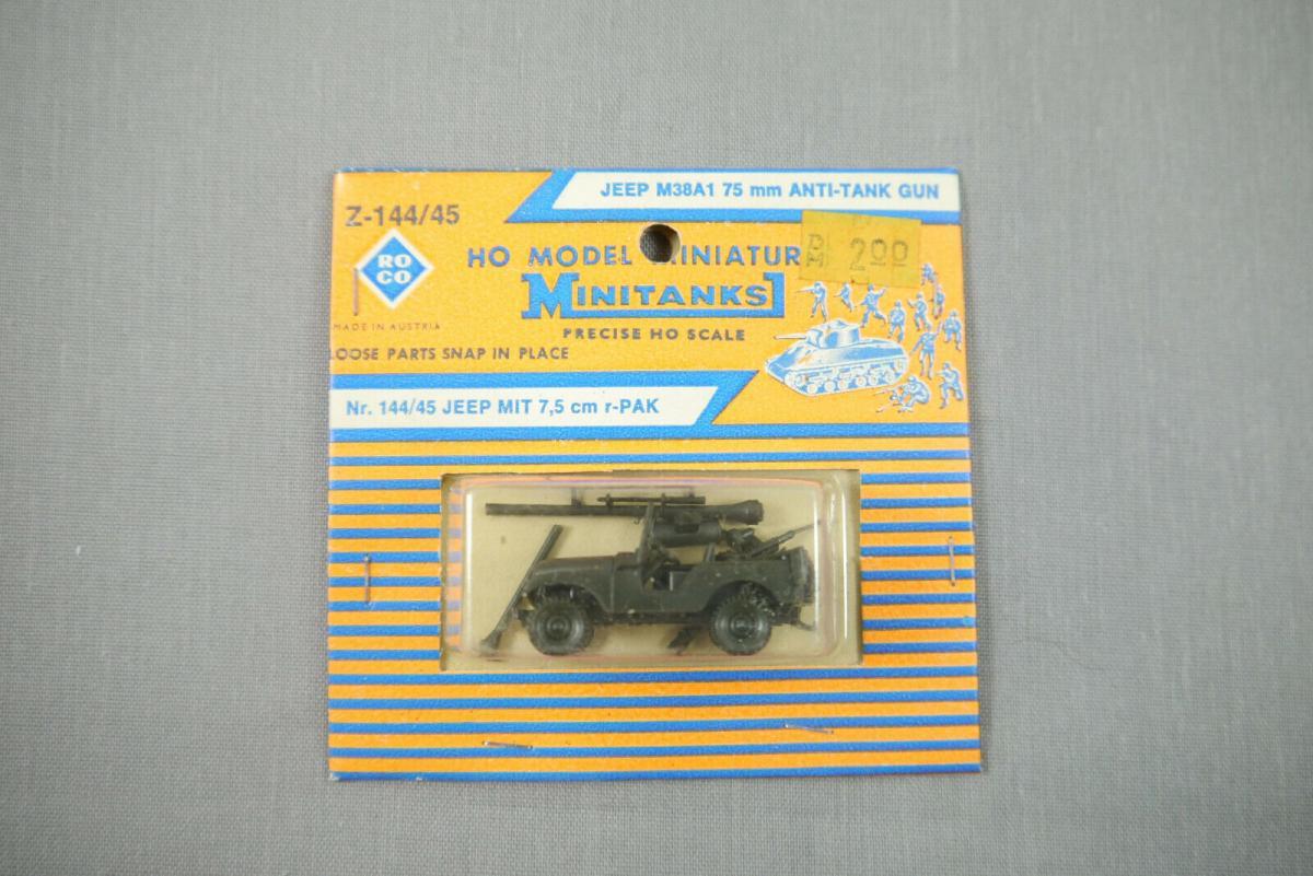 ROCO Z-144/45 Jeep Mit 7,5cm r-PAK Anti-Tank Gun Neu OVP H0 1:87 (K44)