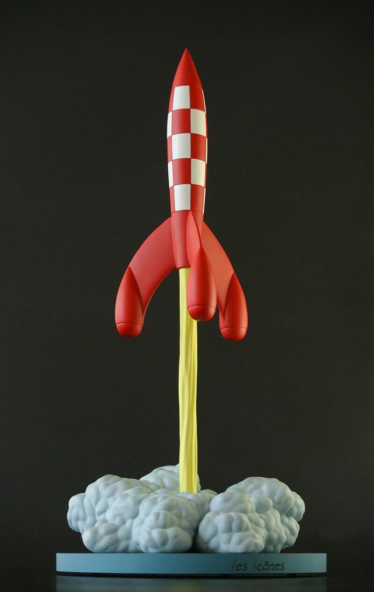 TIM und STRUPPI  startende Rakete MOULINSART TINTIN 50cm NEU (L)*