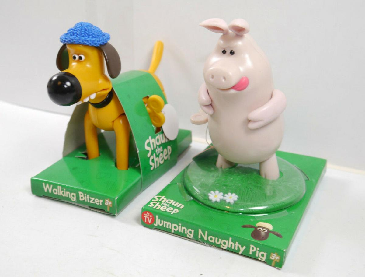 SHAUN DAS SCHAF / the sheep - WIND UP Hund Blitzer & Naughty Pig Set BEAR (L)