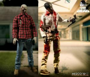 Dawn Of The Dead  Doppelpack Flyboy & Plaid Shirt Zombie Neu 17cm Mezco  (L)