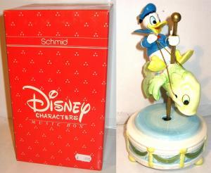 Disney Music Box SCHMID Porzellan - Donald reitet Fisch Spieluhr Figur (K30)*