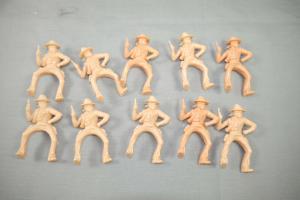 ELASTOLIN  10 Stück Cowboy Bandit Rohling  aufsitzend Hartplastik ca.7cm (K16)