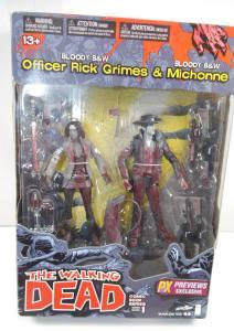 THE WALKING DEAD Officer Rick Grimes & Michonne BLOODY B&W PX MacFarlane Neu (L)