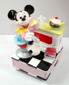 DISNEY CHARACTERS Music Box Minnie isst Eis Spieluhr Figur Porzellan SCHMID (F4)