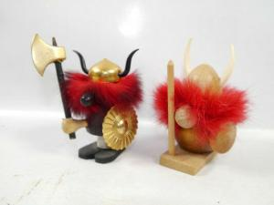 WIKINGER vikings 2er Set Holzfiguren MADE IN DENMARK ca.9cm (K48)
