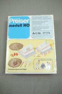 Preiser modell  17179 Fernmeldearbeiter Bauzelt Absperrung + Zubehör  H0 (K24)