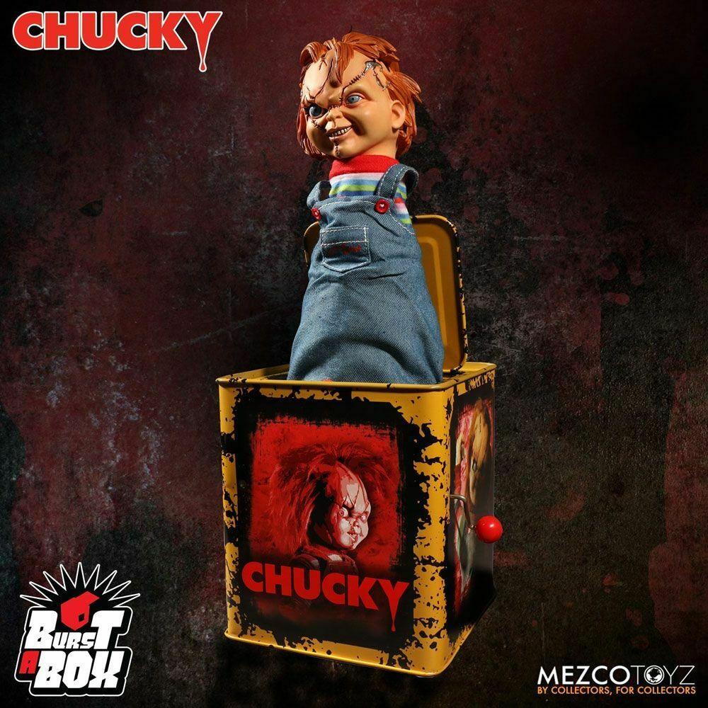 CHUCKY & seine Braut Burst-A-Box Springteufel Spieluhr MEZCO ca.36cm Neu (L)* 0