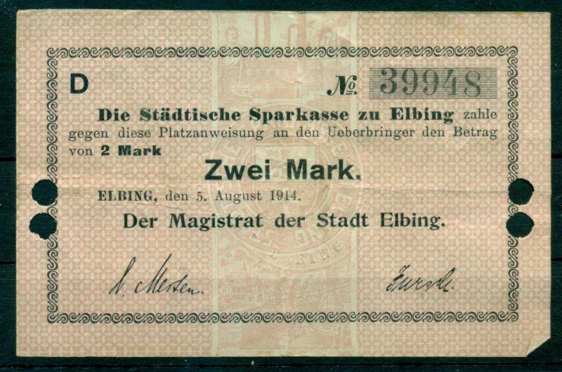Notgeld Platzanweisung Elbing Zwei Mark 1914