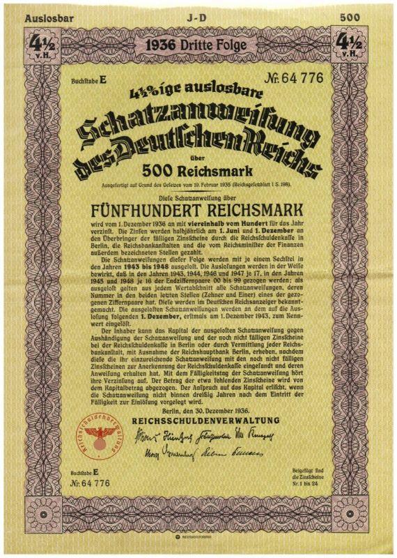 Unentwertete Schatzanweisungen Deutsches Reich + Aktien Zuckerfabrik Rastenburg